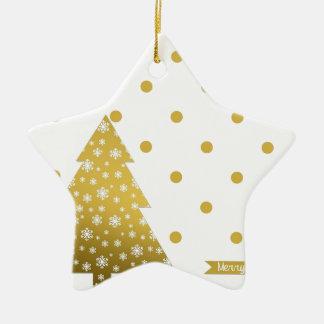 Ornement Étoile En Céramique Blanc d'or de carte de Noël