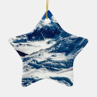 Ornement Étoile En Céramique Bleu abstrait Alaska d'hiver de glace de neige de