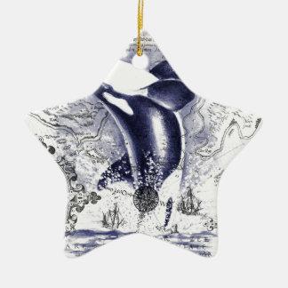 Ornement Étoile En Céramique Bleu vintage de carte de baleine d'orque