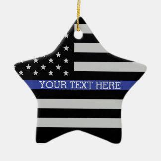 Ornement Étoile En Céramique Blue Line mince - coutume personnalisée de drapeau