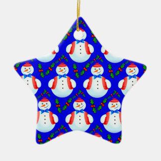 Ornement Étoile En Céramique Bonhommes de neige
