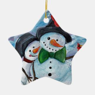 Ornement Étoile En Céramique Bonhommes de neige de visite cardinaux