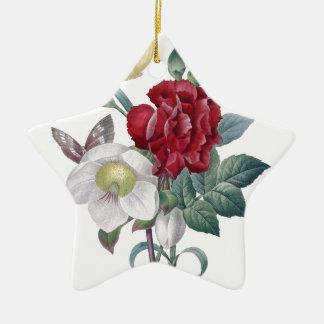 Ornement Étoile En Céramique bouquet d'anémone et d'oeillets
