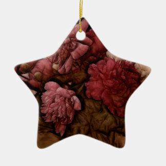 Ornement Étoile En Céramique Bouquet de fleur de pivoine de Bordeaux