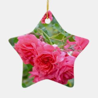 Ornement Étoile En Céramique Bouquet de rose de rose