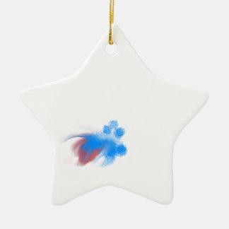 Ornement Étoile En Céramique Brouillé rouge et bleu