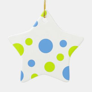 Ornement Étoile En Céramique Bulles bleues jaunes géniales heureuses