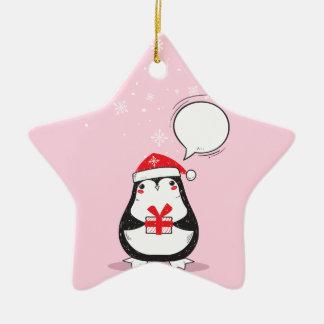 Ornement Étoile En Céramique Cadeau rose mignon de Noël de Noël de vacances de