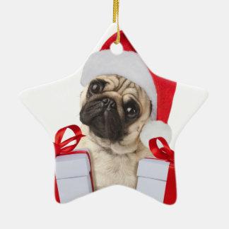 Ornement Étoile En Céramique Cadeaux de carlin - chien Claus - carlins drôles -