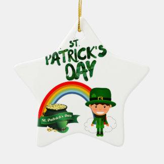 Ornement Étoile En Céramique Cadeaux du jour de St Patrick