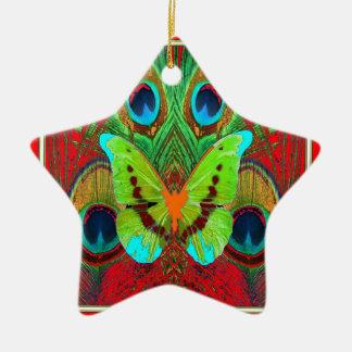 Ornement Étoile En Céramique cadeaux verts de paon de papillon
