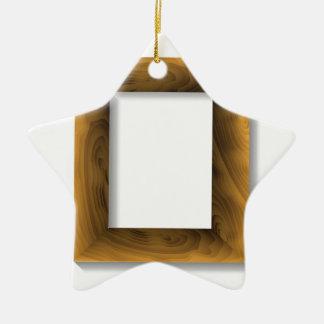 Ornement Étoile En Céramique cadre en bois