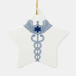 Ornement Étoile En Céramique Caducée avec l'icône d'étoile des ailes EMT de