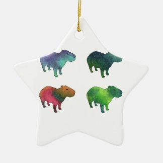 Ornement Étoile En Céramique Capybaras de l'espace