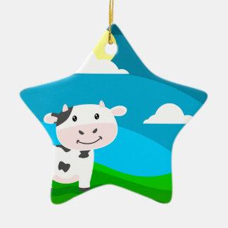Ornement Étoile En Céramique Caractère de vache