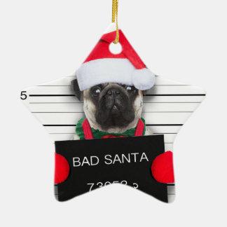 Ornement Étoile En Céramique Carlin de Noël - chien de photo - carlin de père