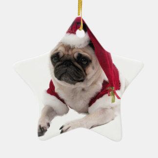 Ornement Étoile En Céramique Carlin de Noël - chien du père noël - poursuivez