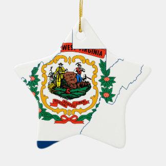 Ornement Étoile En Céramique Carte de drapeau de la Virginie Occidentale