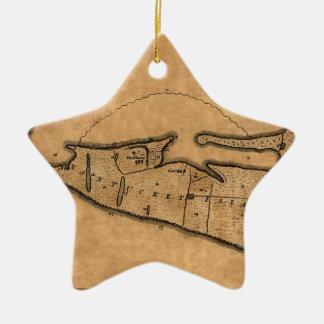 Ornement Étoile En Céramique Carte de Nantucket 1782