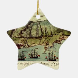 Ornement Étoile En Céramique Carte du Gibraltar 1765