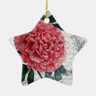 Ornement Étoile En Céramique Carte rouge de pivoine