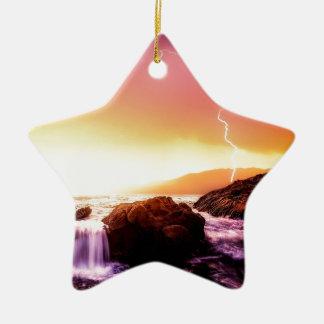 Ornement Étoile En Céramique cascade et coucher du soleil de la Californie