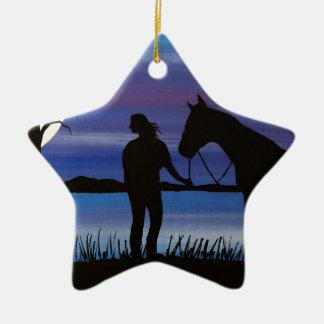 Ornement Étoile En Céramique cavalier et cheval