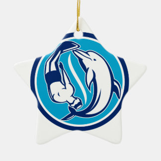 Ornement Étoile En Céramique Cercle libre de Yin Yang de plongeur et de dauphin