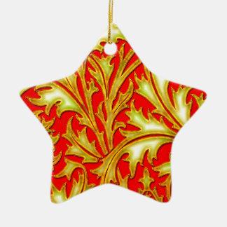 Ornement Étoile En Céramique Chardon rouge d'or