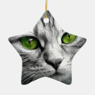 Ornement Étoile En Céramique chat aux yeux verts
