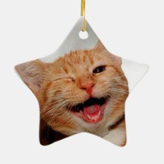 Ornement Étoile En Céramique Chat clignant de l'oeil - chat orange - les chats