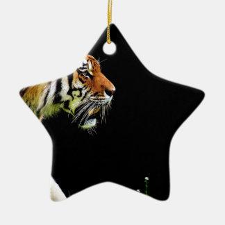 Ornement Étoile En Céramique Chat dangereux de fourrure prédatrice de tigre