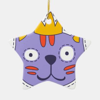 Ornement Étoile En Céramique Chat dans une couronne