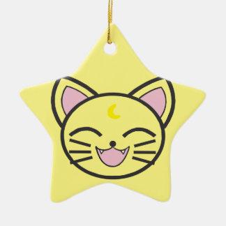 Ornement Étoile En Céramique chat de lune