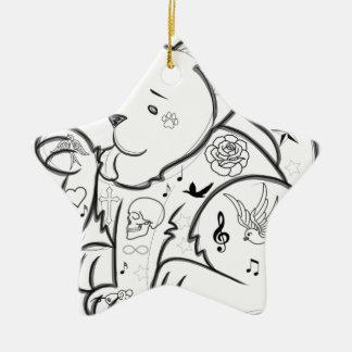 Ornement Étoile En Céramique Chat de tatouage