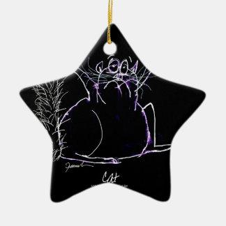 Ornement Étoile En Céramique chat magique