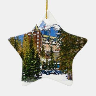 Ornement Étoile En Céramique Château de montagne rocheuse - Banff Canada