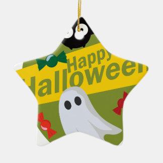 Ornement Étoile En Céramique Chauves-souris et fantômes heureux de Halloween