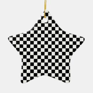 Ornement Étoile En Céramique Checkered blanc noir