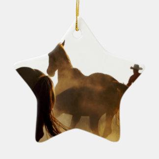 Ornement Étoile En Céramique cheval de lasso de cowboy