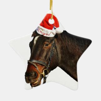 Ornement Étoile En Céramique Cheval père Noël - cheval de Noël - Joyeux Noël