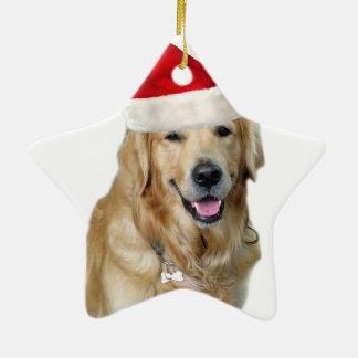 Ornement Étoile En Céramique Chien-animal familier de Labrador Noël-père Noël