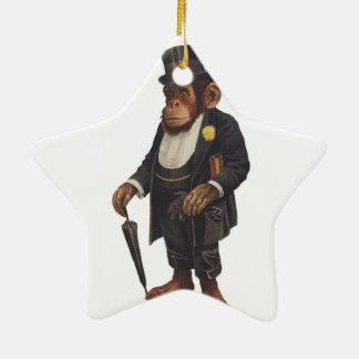 Ornement Étoile En Céramique Chimpanzé drôle - rétro singe - monkey le