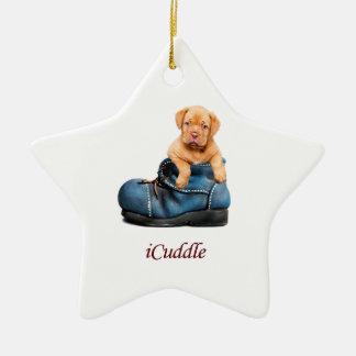 Ornement Étoile En Céramique Chiot français de mastiff d'iCuddle mignon
