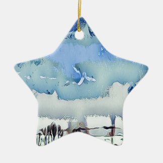 Ornement Étoile En Céramique Ciel coloré d'horizon d'abrégé sur bleu d'hiver