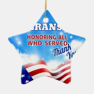 Ornement Étoile En Céramique Ciel d'arrière - plan de drapeau américain de jour
