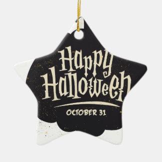 Ornement Étoile En Céramique Citrouille heureux de Halloween