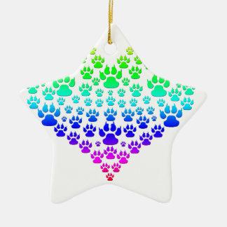 Ornement Étoile En Céramique coeur coloré de patte