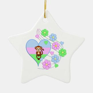 Ornement Étoile En Céramique Coeur de singe d'amusement