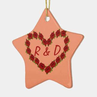 Ornement Étoile En Céramique Coeur des roses
